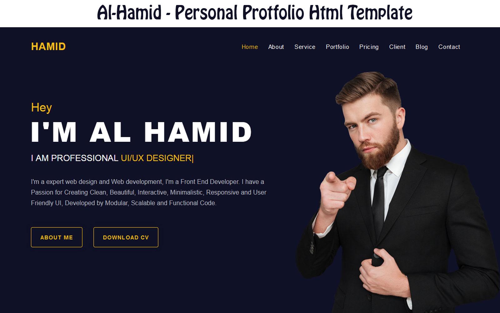 Al-Hamid - Personal Protfolio Html Landing Page Template