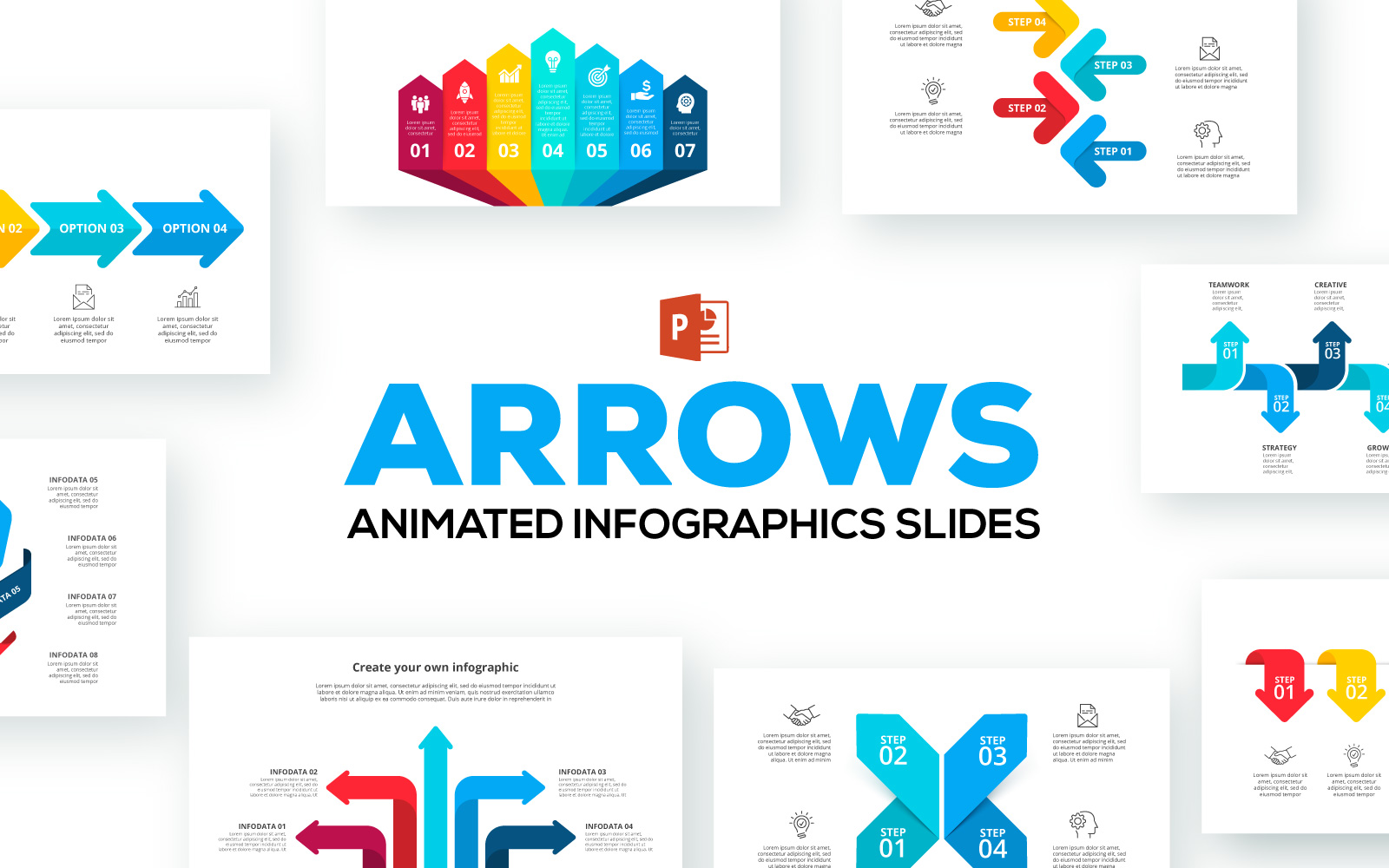 Arrows Animated Infographics Presentations PowerPoint Template
