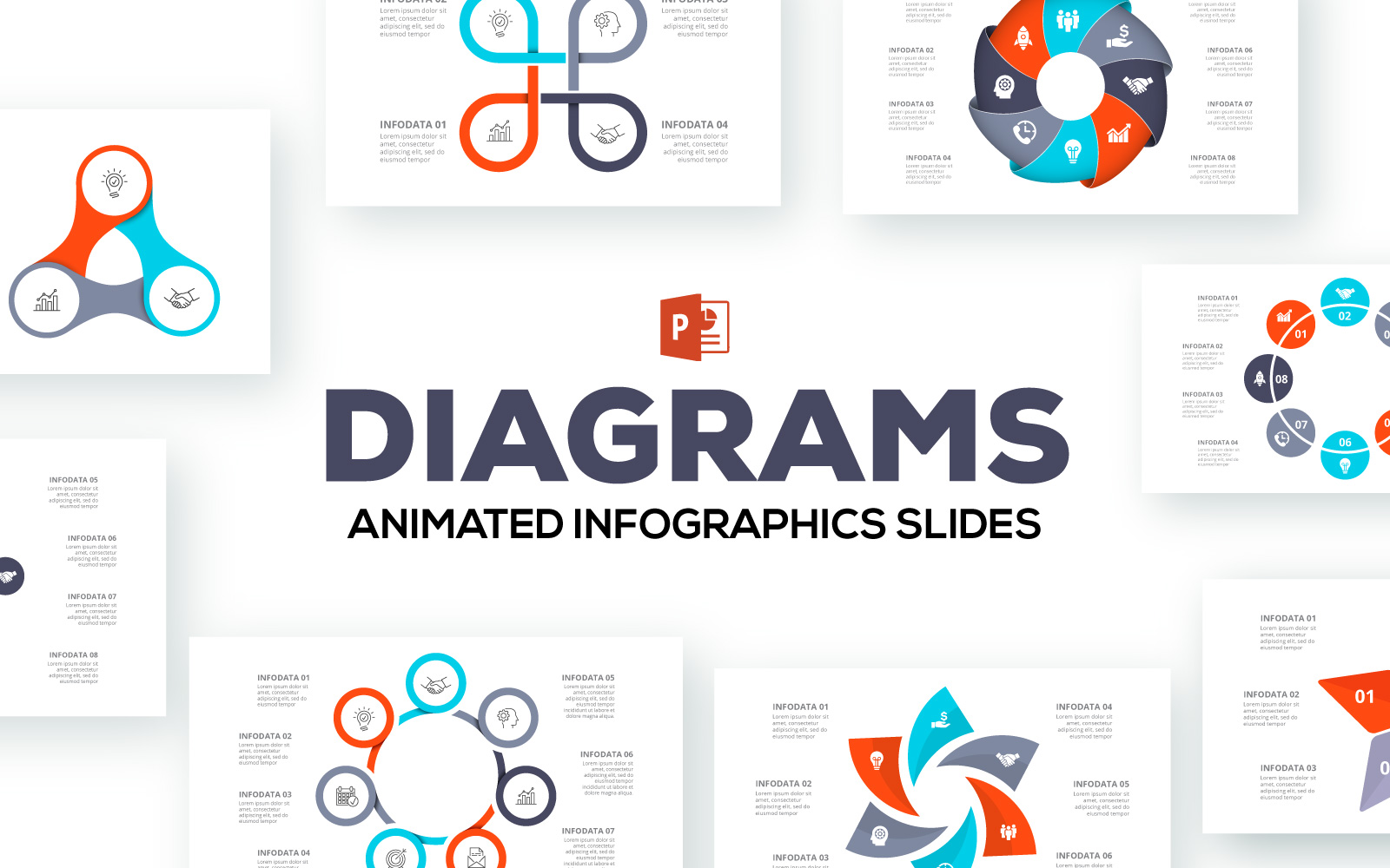 Diagrams Animated Infographics Presentations PowerPoint Template