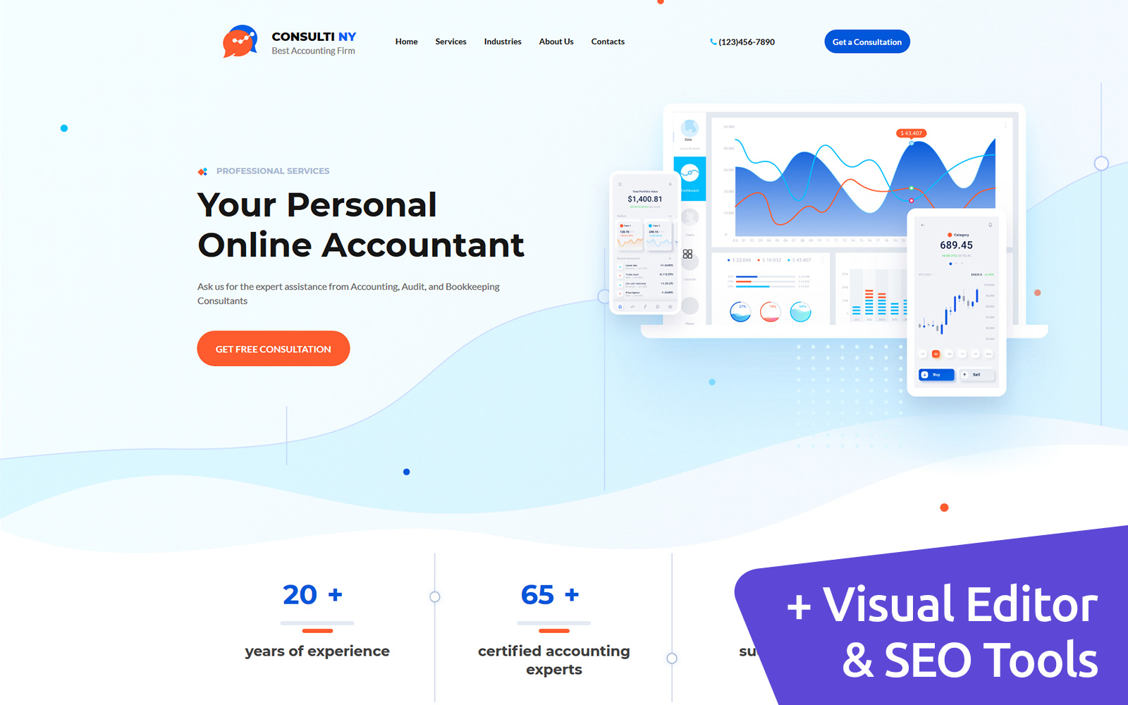 Consulti NY - Accounting Firm MotoCMS Landing Page Template