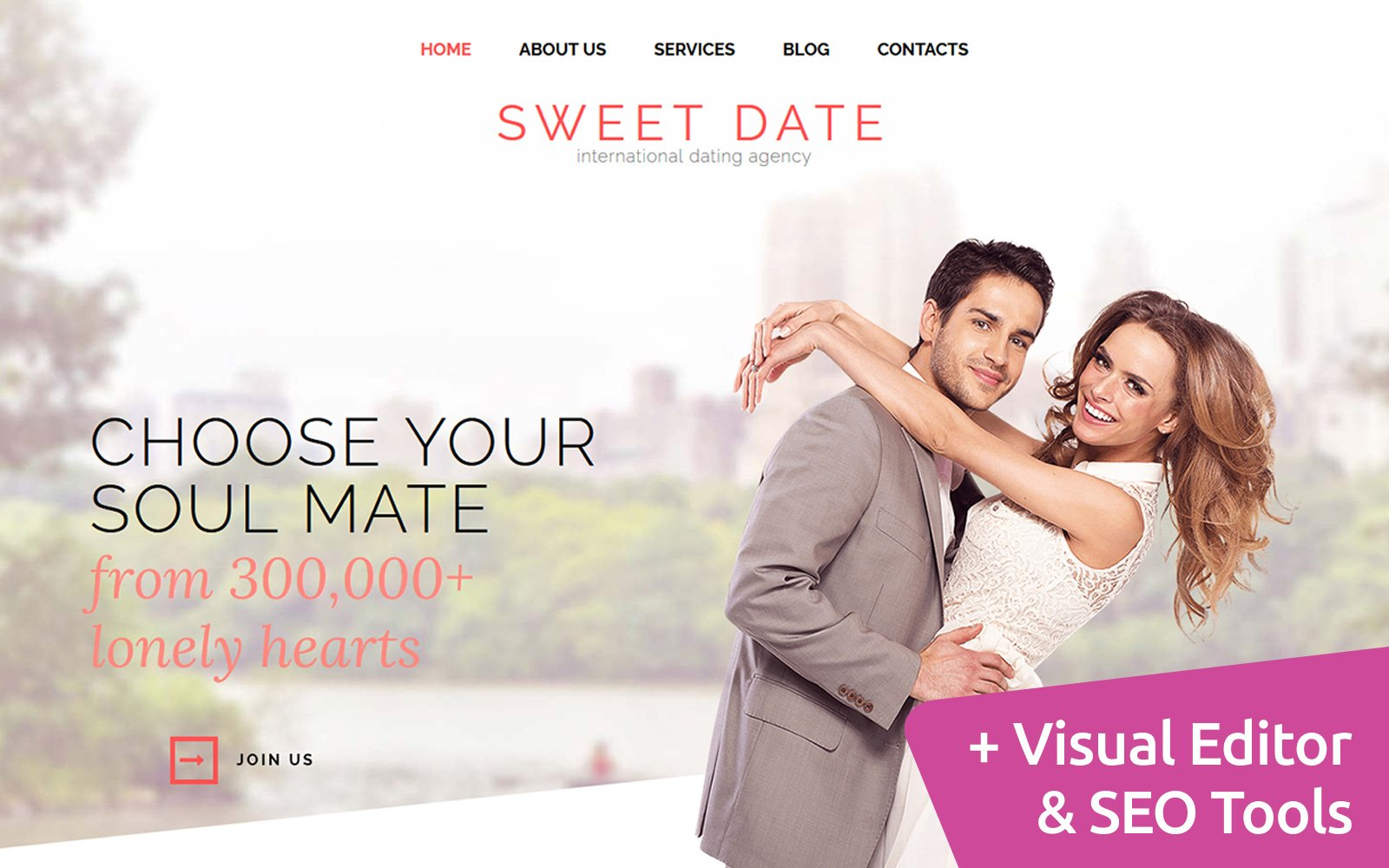 Sweet Date - Dating Moto CMS 3 Template
