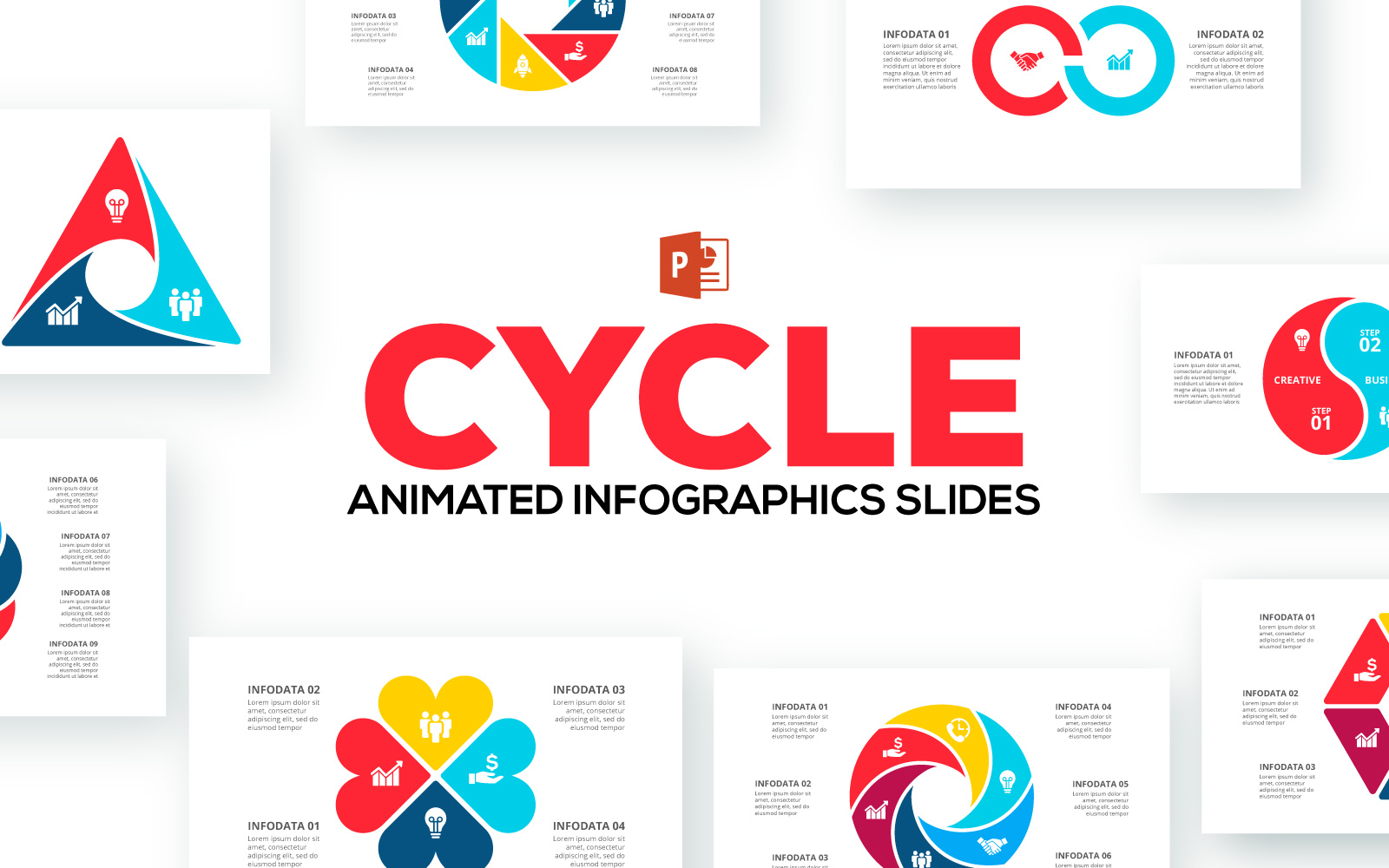 Cycle Animated Infographics Presentations PowerPoint Template
