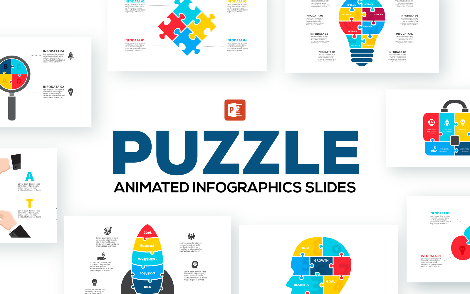 Puzzle Animated Infographics PowerPoint Template