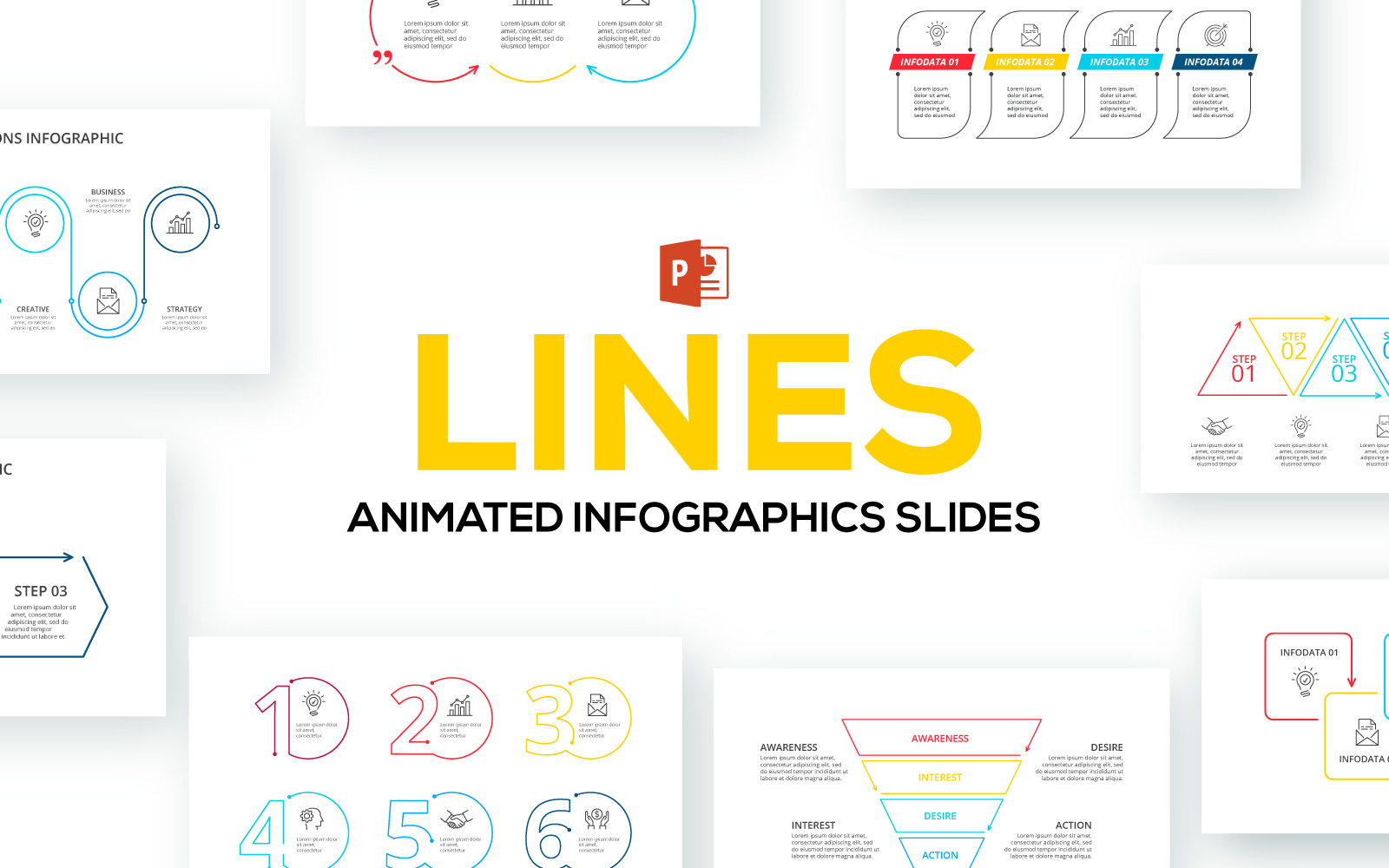Line Animated Infographics PowerPoint Template