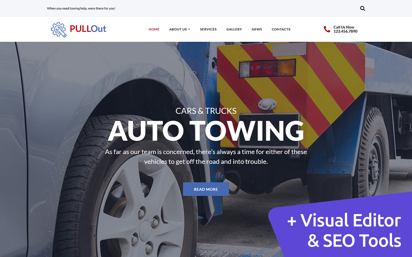 PullOut - Auto Towing Moto CMS 3 Template