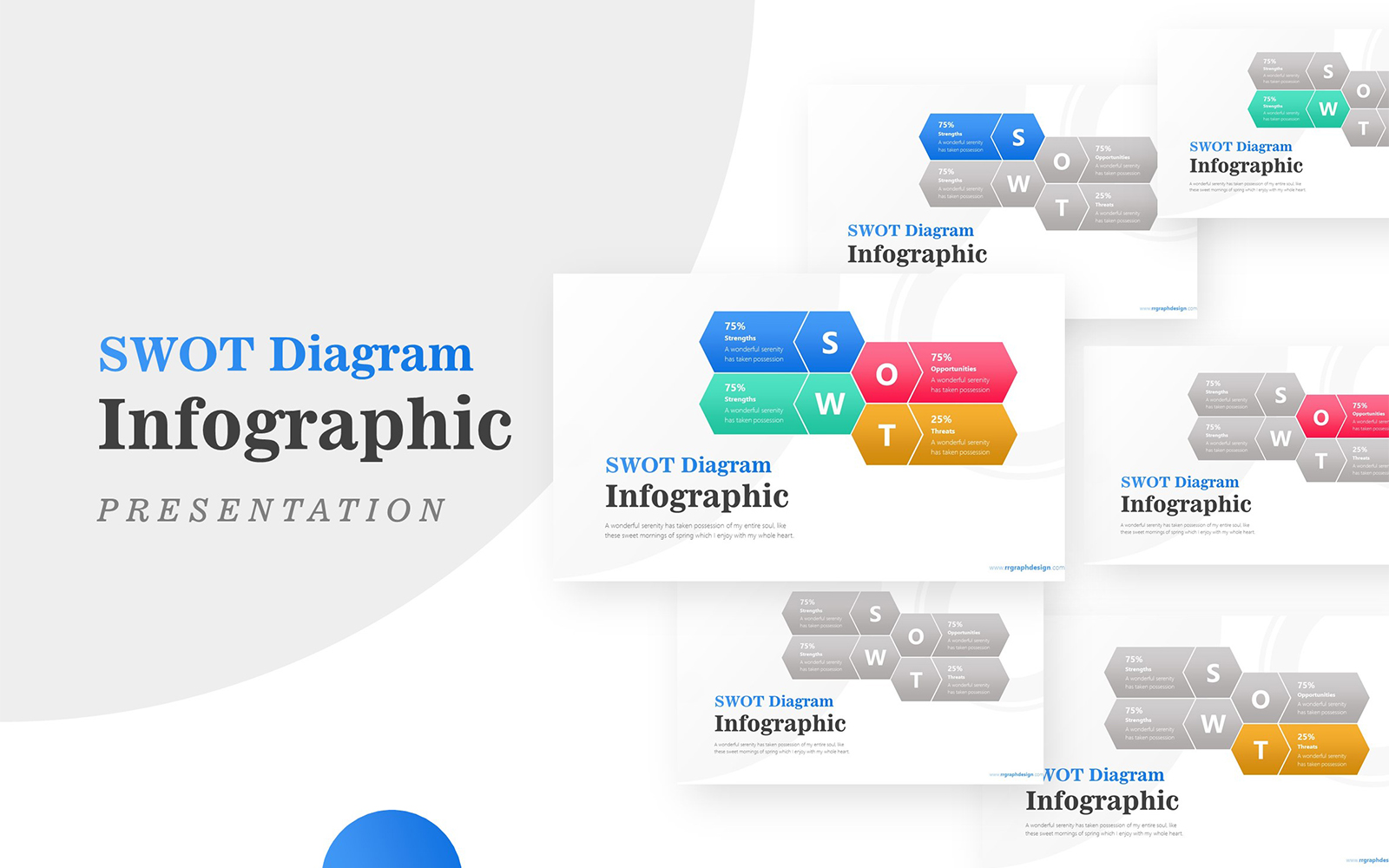 Framework with Modern Hexagonal SWOT Infographic Presentation PowerPoint Template
