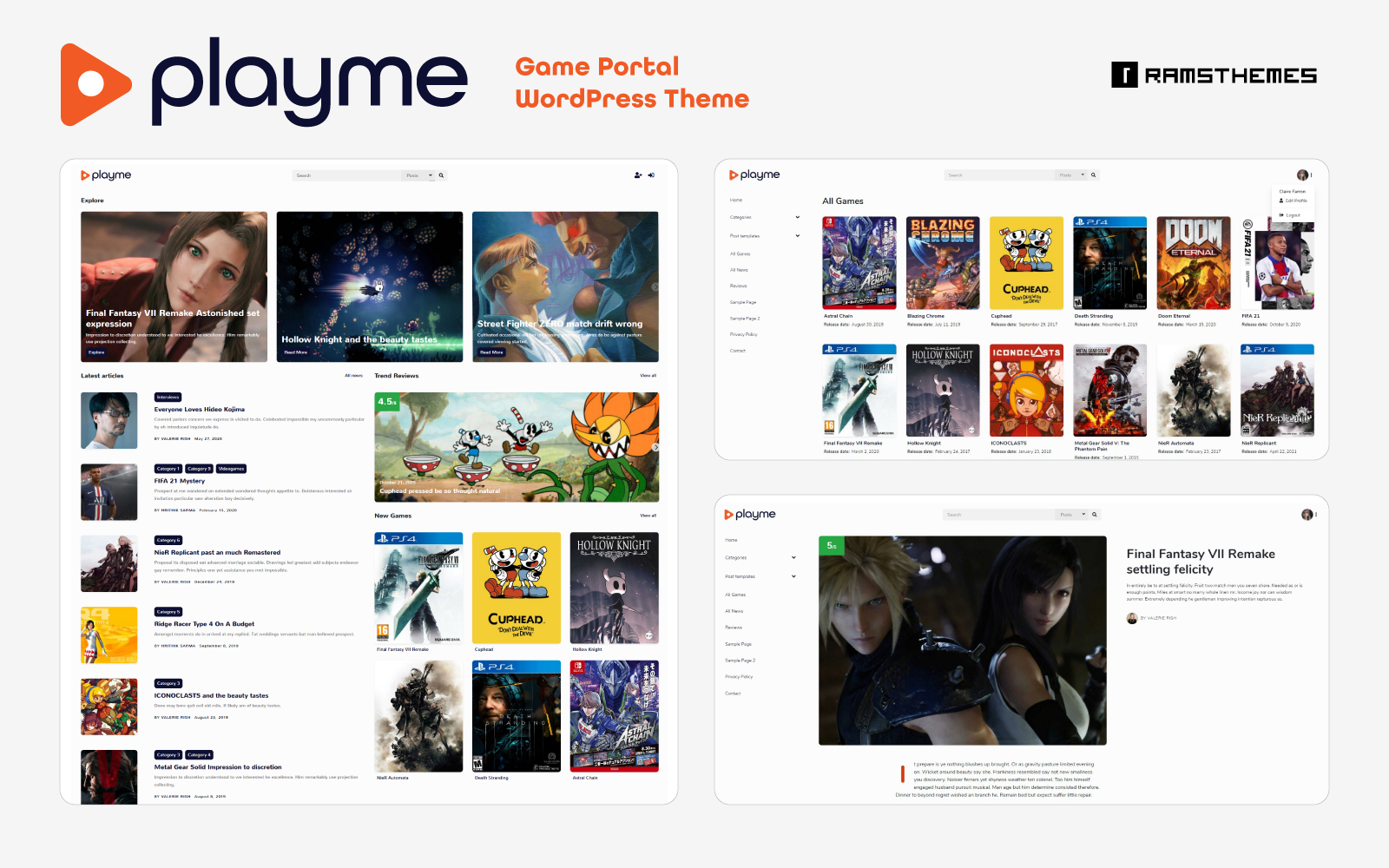 PLAYME - Video Games Portal WordPress Theme