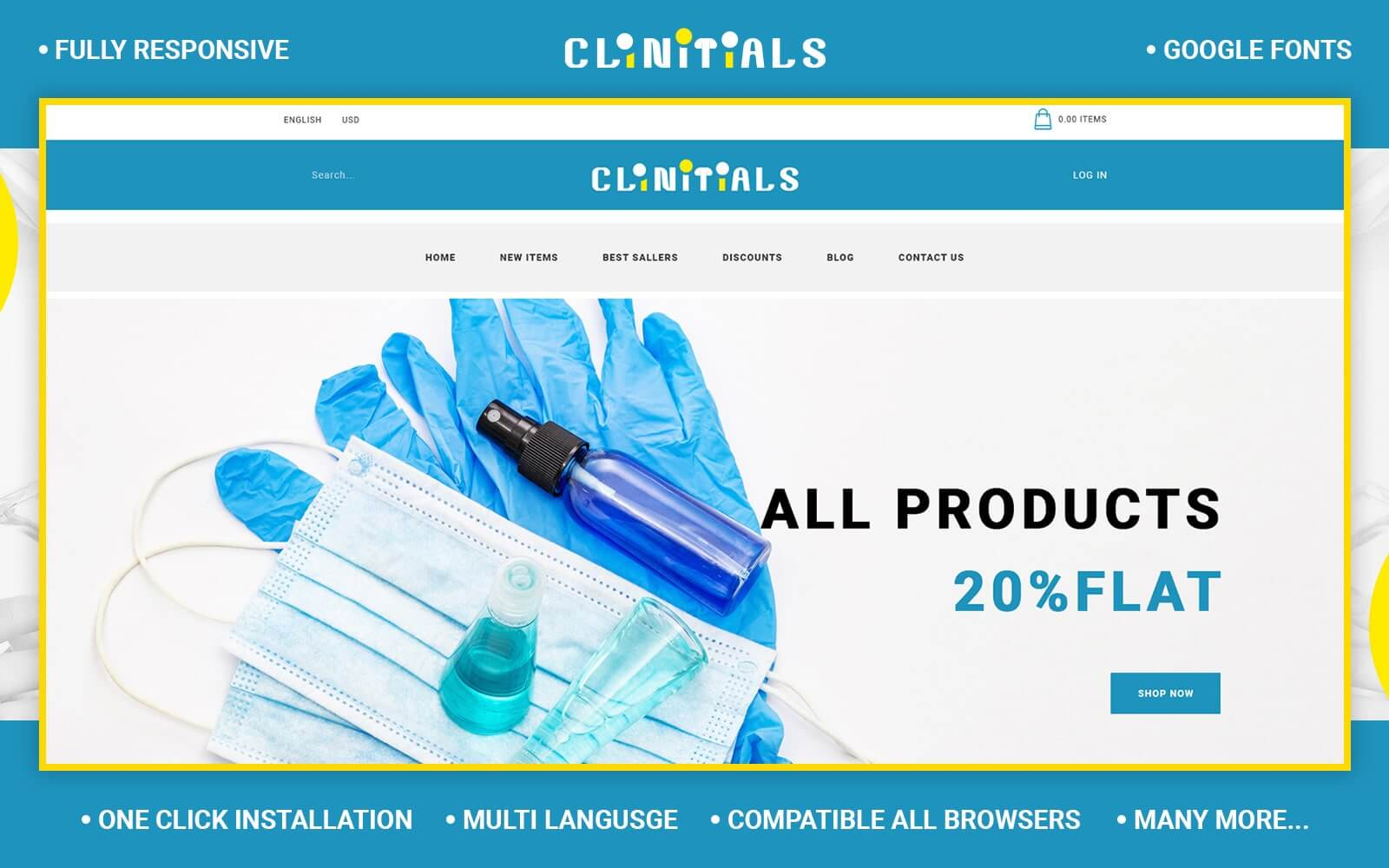 Clinitials - Sanitizer Store OpenCart Template