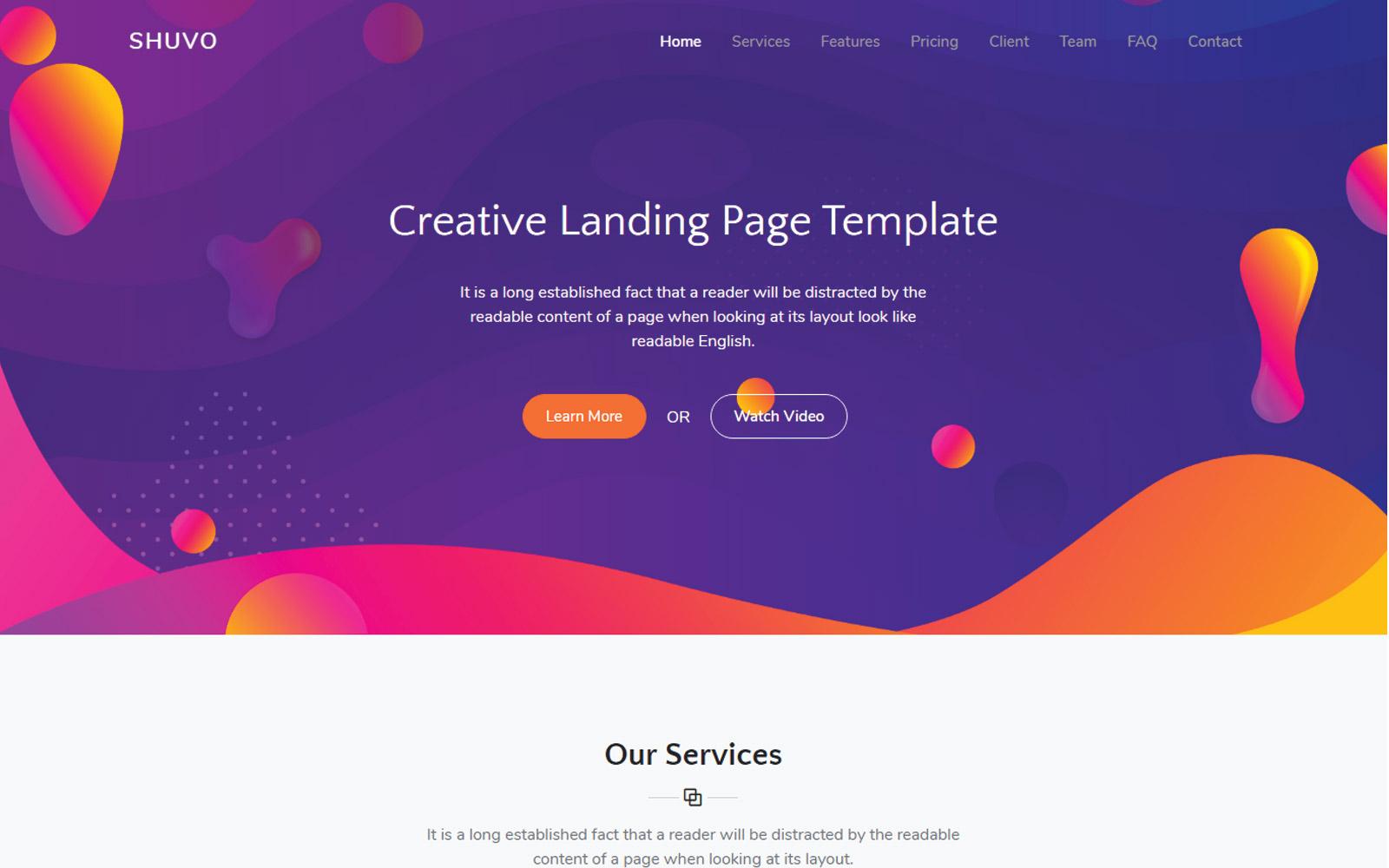 Shuvo Creative Landing Page Template