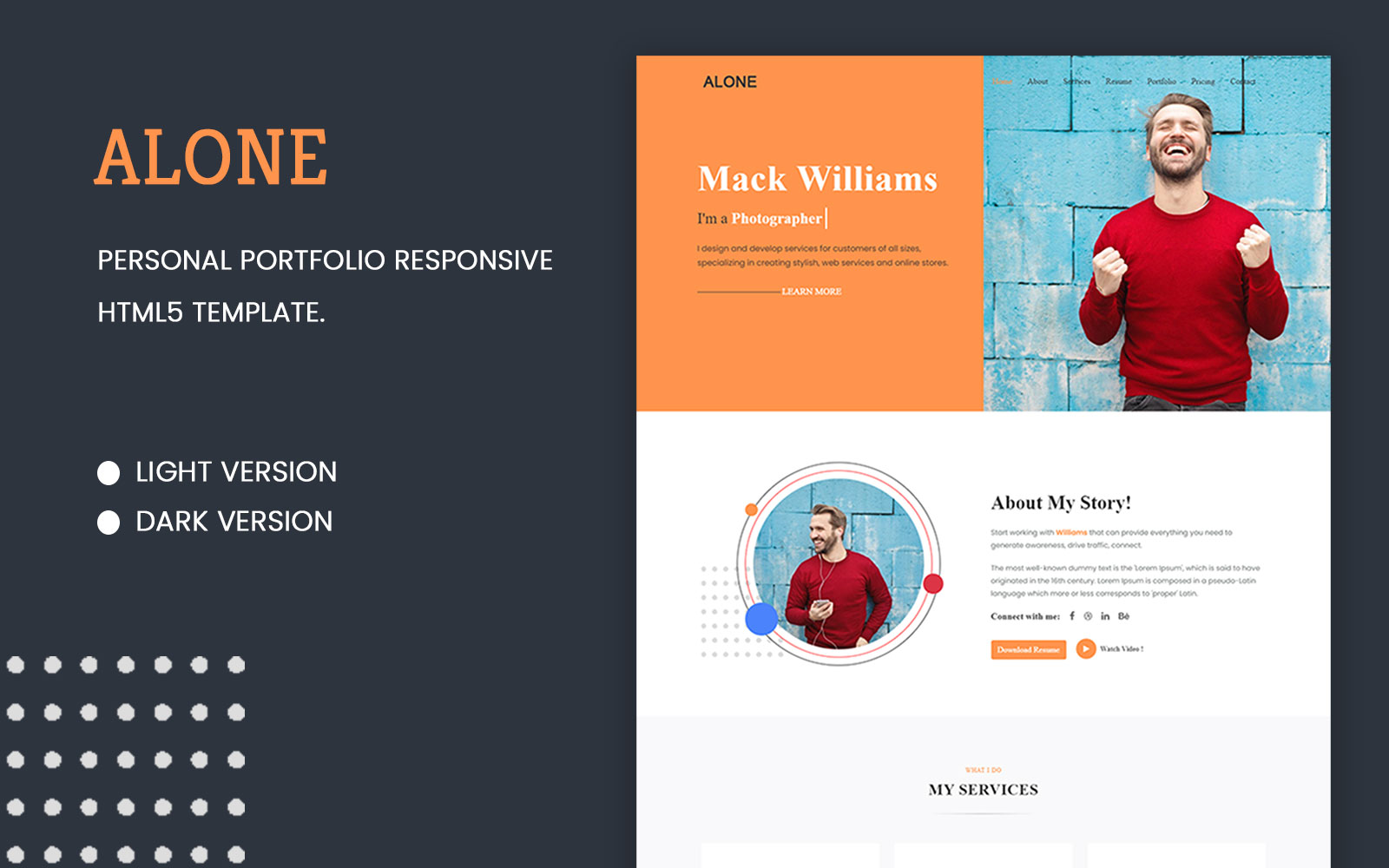Alone - Personal Portfolio Responsive Landing Page Template