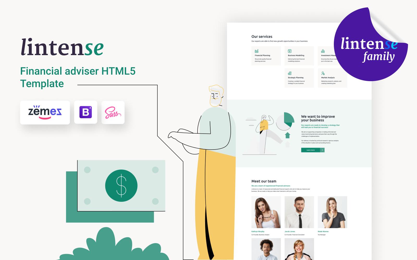 Lintense Financial Advisor - Business HTML Landing Page Template