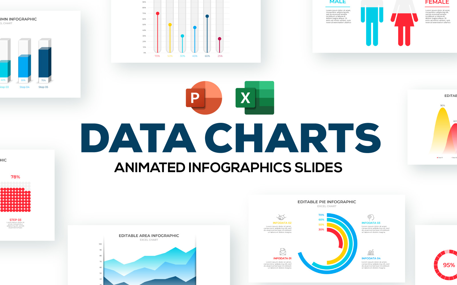 Excel Charts Animated Infographic PowerPoint Template