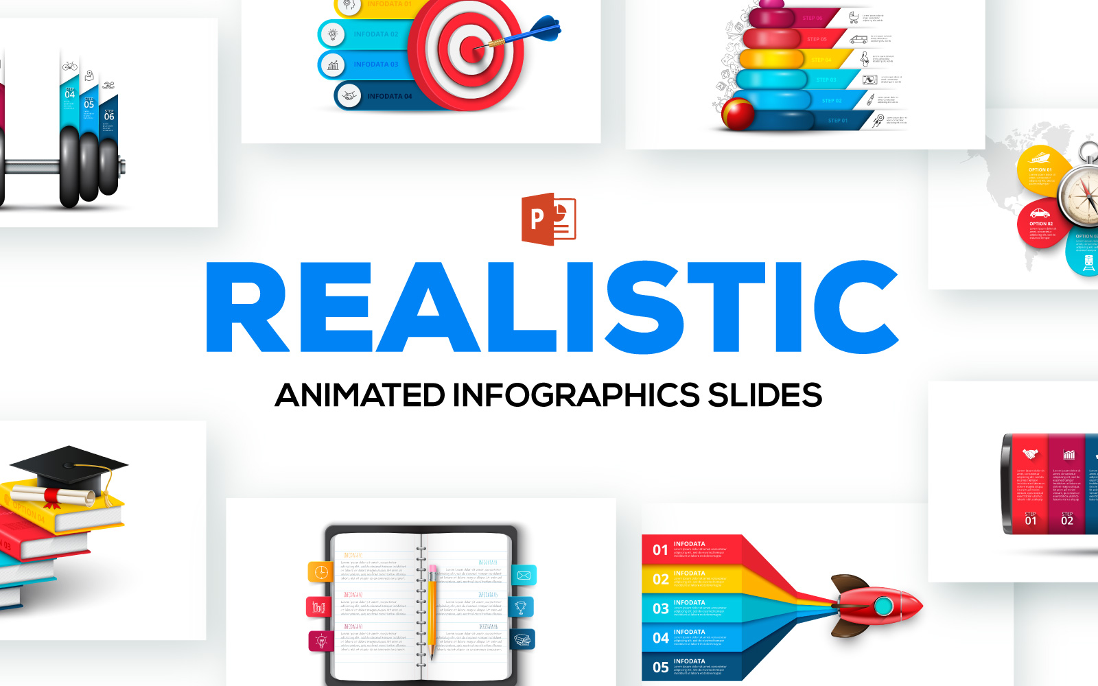 Realistic Animated Infographic Presentations PowerPoint Template