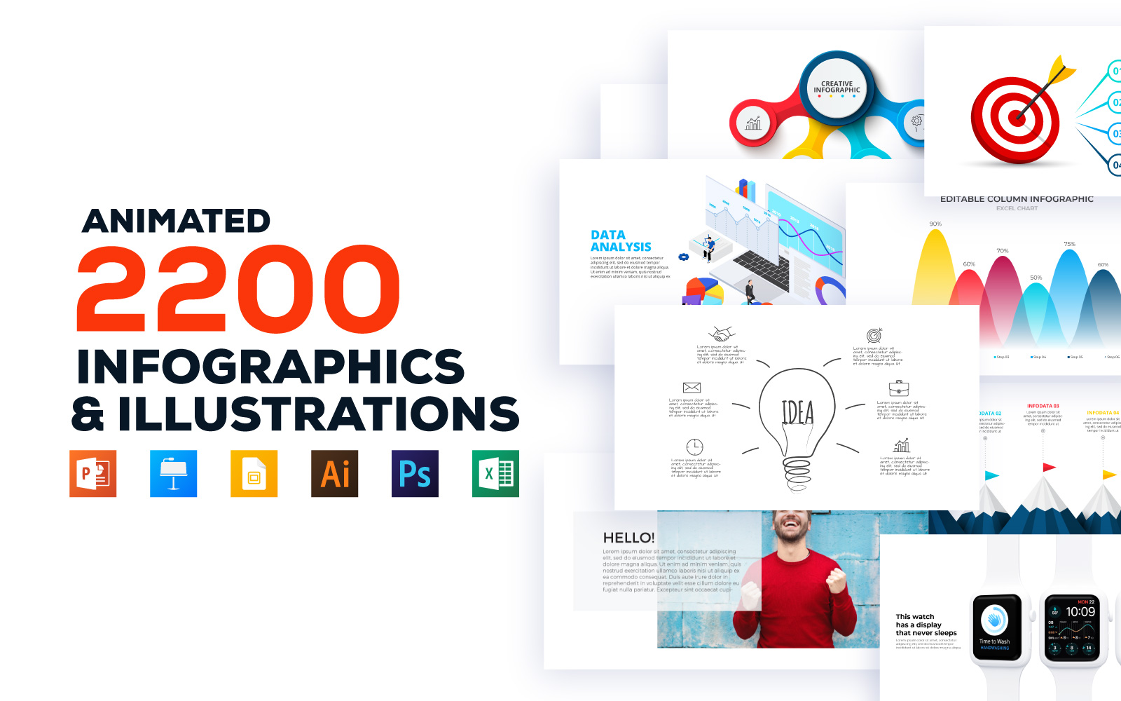 2200 Animated Infographics Bundle PowerPoint Template