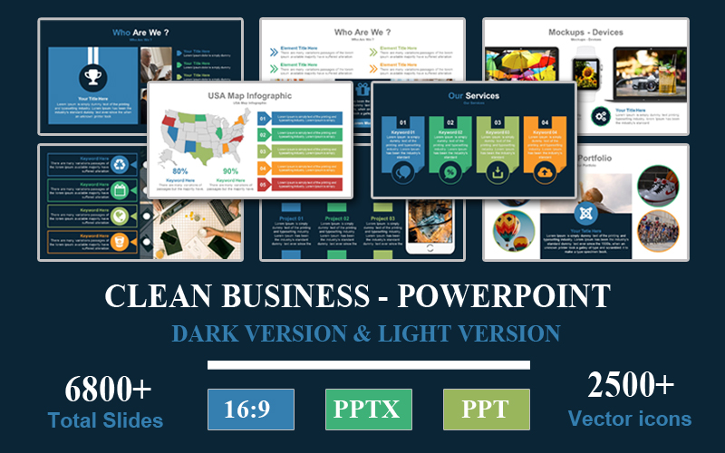 Clean Business - Presentation PowerPoint Template