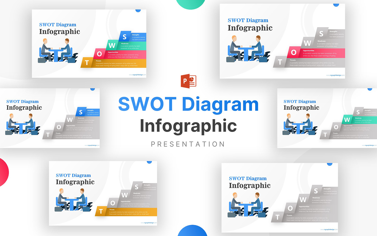 SWOT Diagram with Business Partner Infographic PowerPoint Template