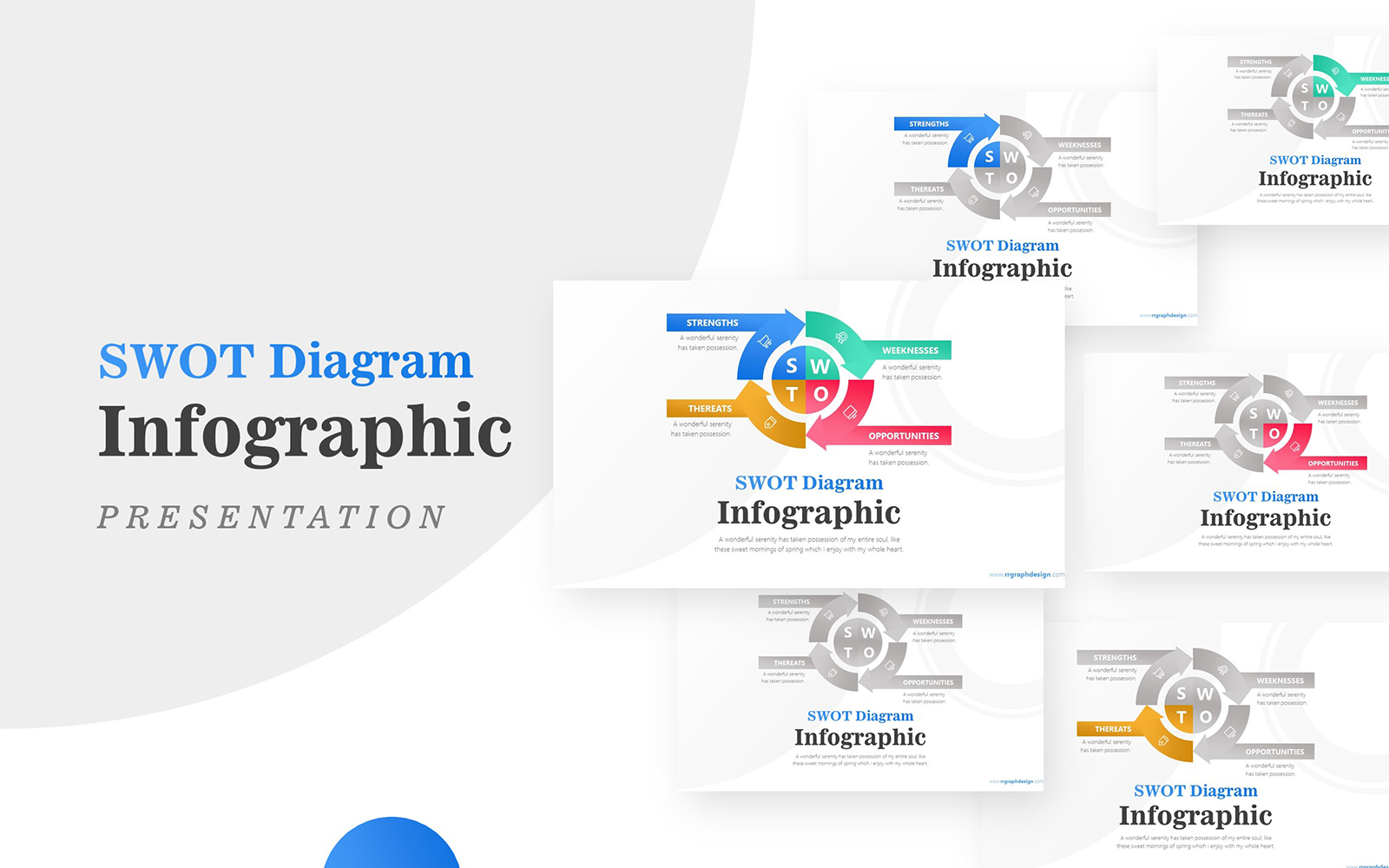 Circular Arrow for Business SWOT Infographic Presentation PowerPoint Template