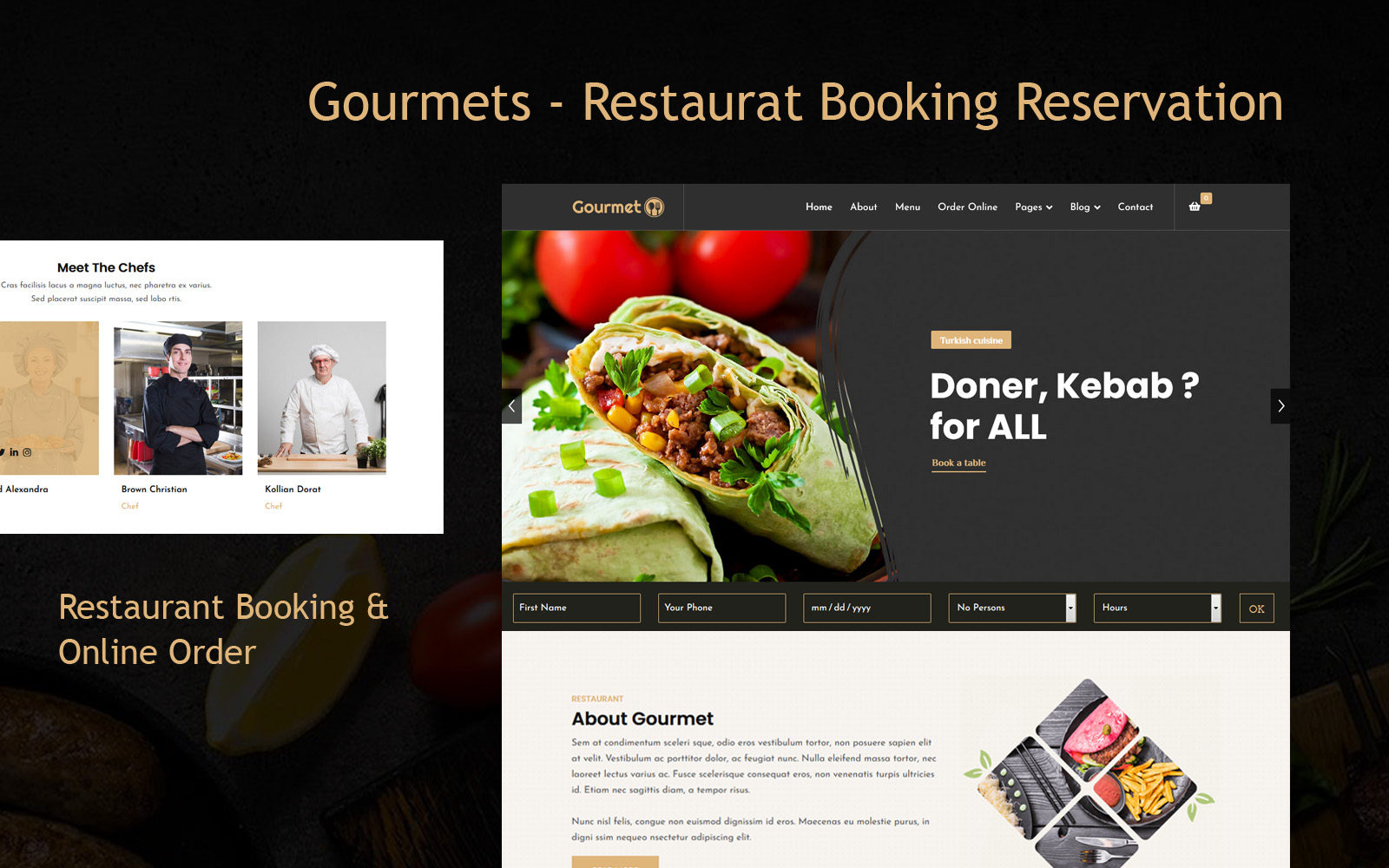 Gourmets - Restaurat Booking Reservation Joomla Template