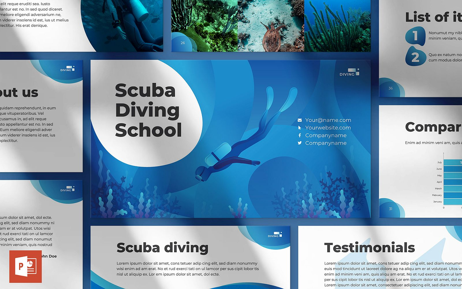 Diving School Presentation PowerPoint Template
