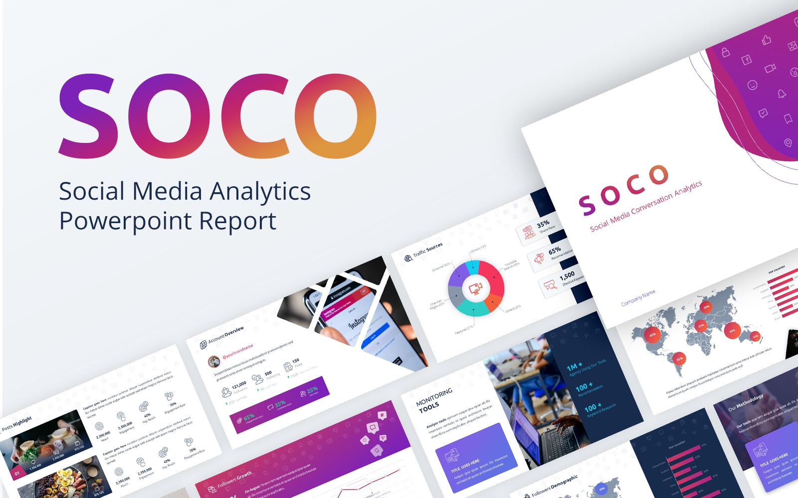 SOCO - Social Media Analytics  Report PowerPoint Template