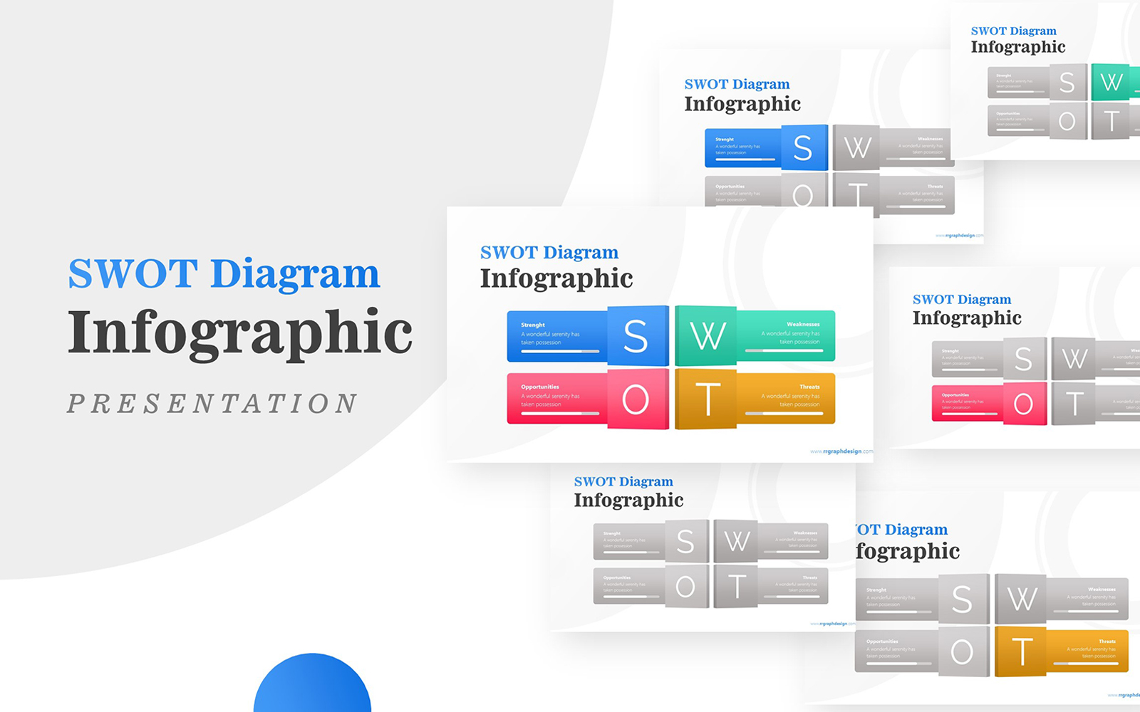 Four Text Boxes for SWOT Analysis Diagram Infographic PowerPoint Template