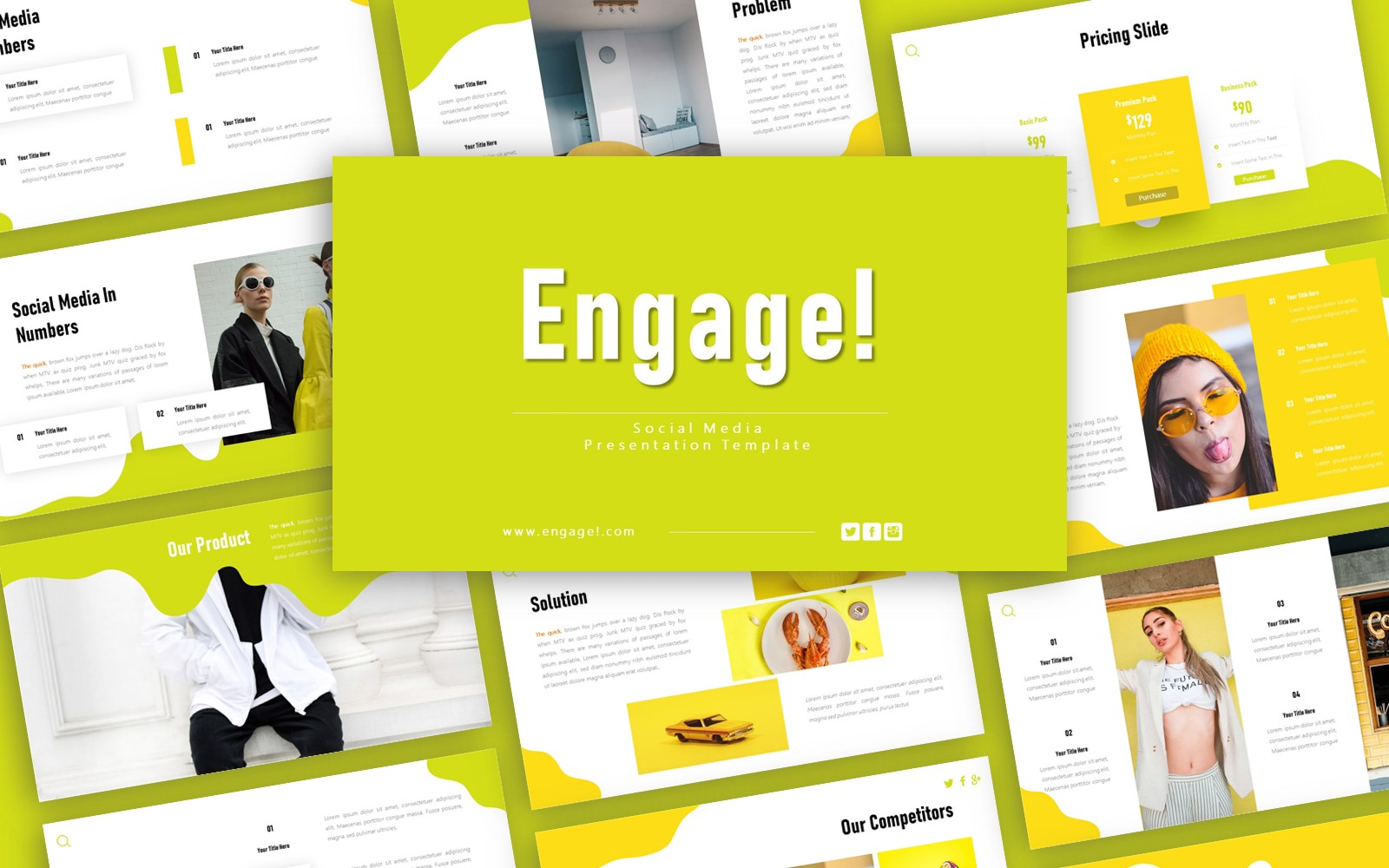 Engage Social Media Presentation PowerPoint Template