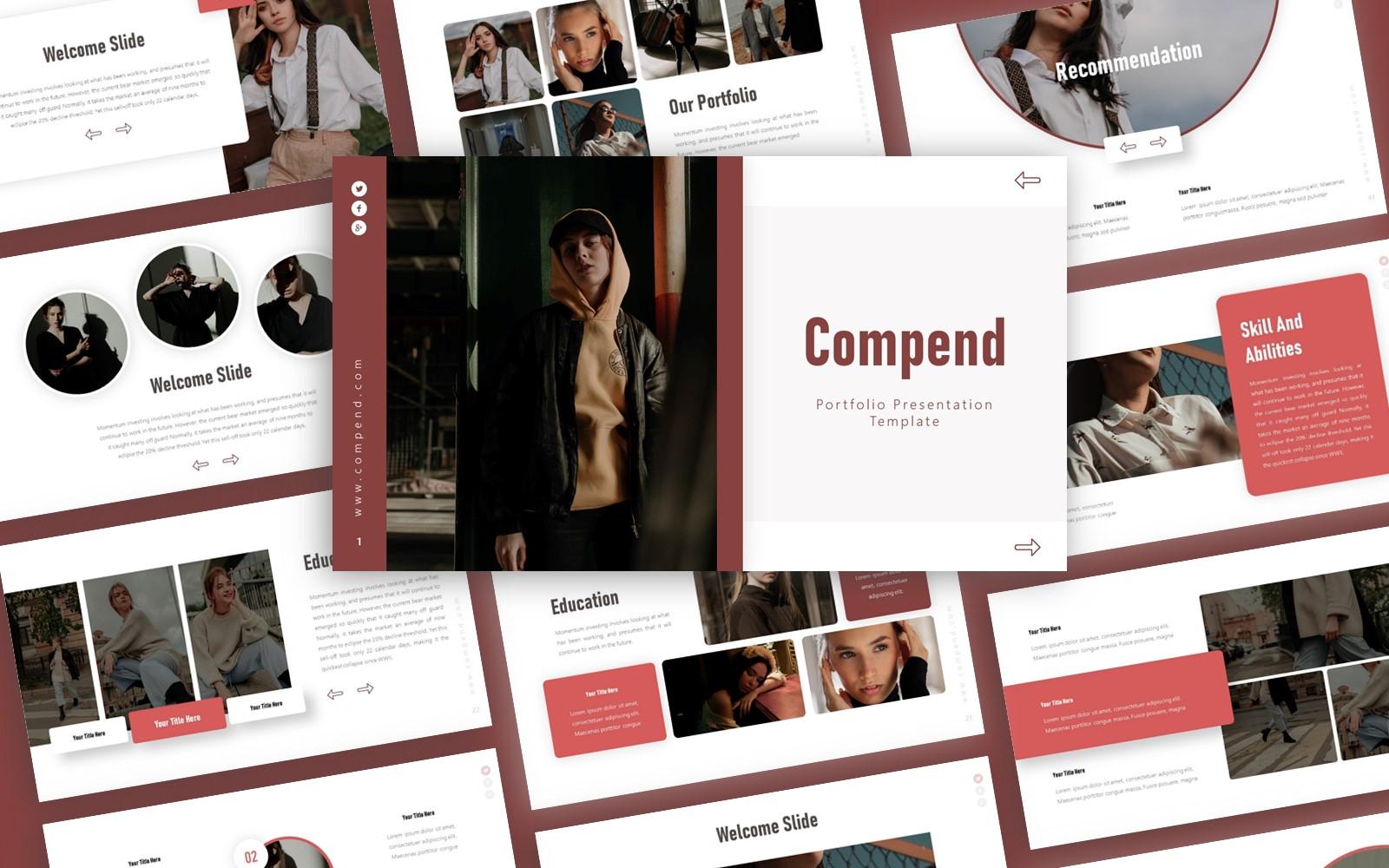 Compend Portfolio Presentation PowerPoint template