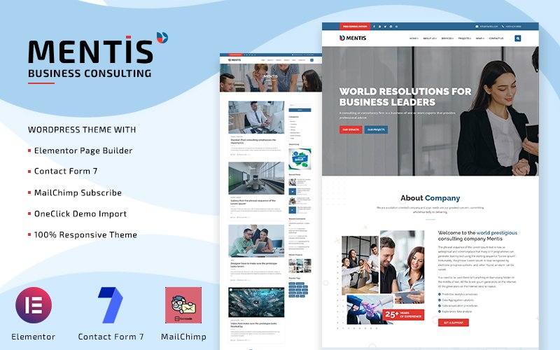 Mentis - Business Consulting WordPress Elementor Theme