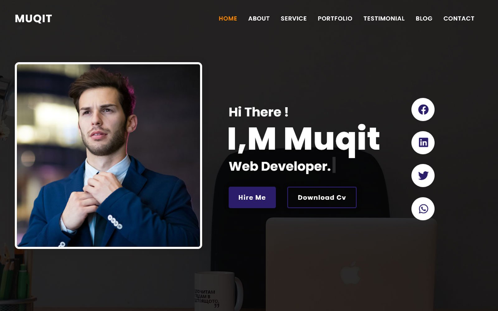 Al-Muqit - Cv/Resume Portfolio Theme Landing Page Template