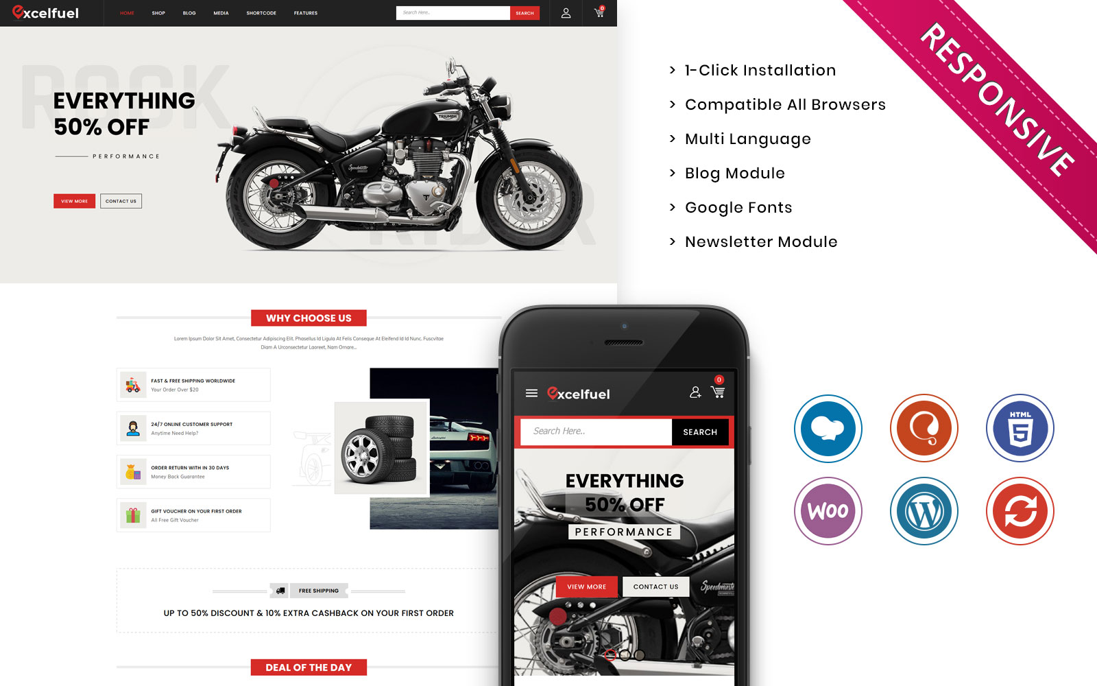 Excelfuel - The Automobile Store Responsive WooCommerce Theme