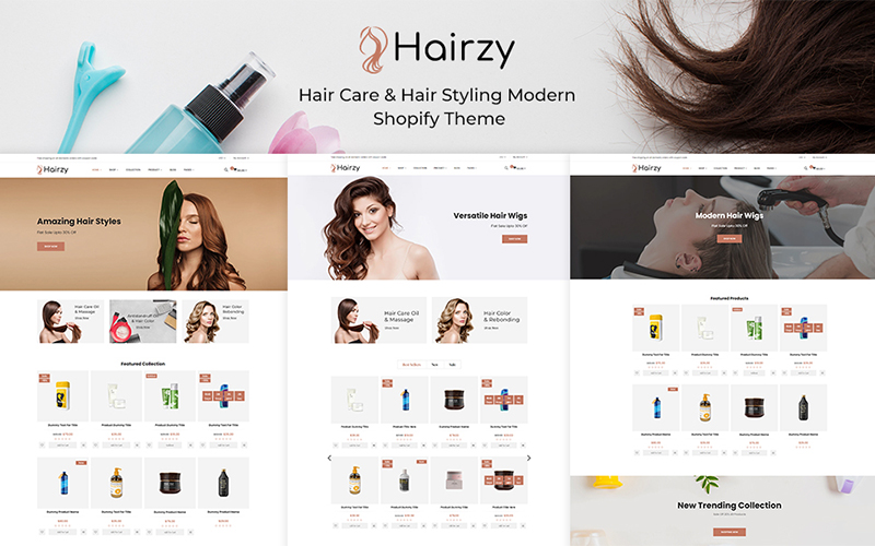 Hairzy - Hair Care And Hair Styling Modern Shopify Theme