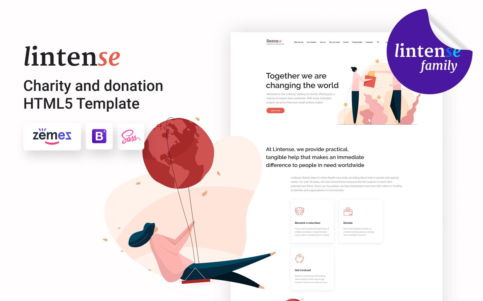 Lintense Charity - Charitable Organization Landing Page Template