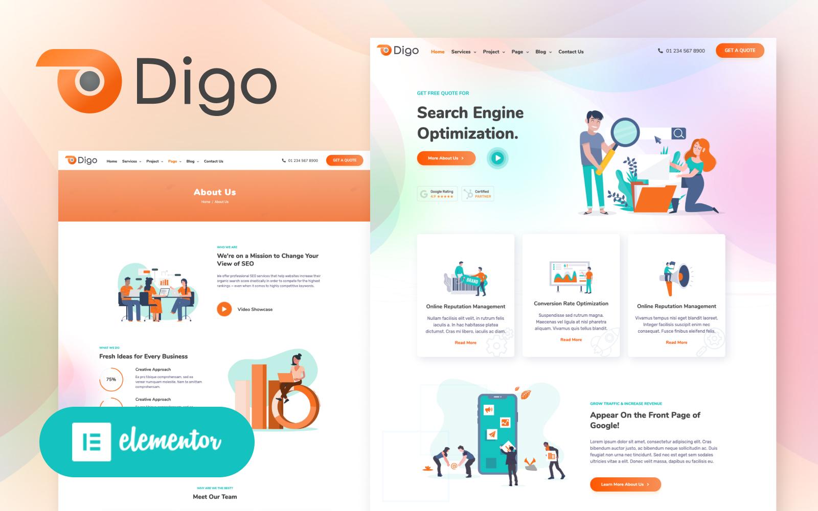 Digo - SEO and Digital Marketing Agency WordPress Elementor Theme