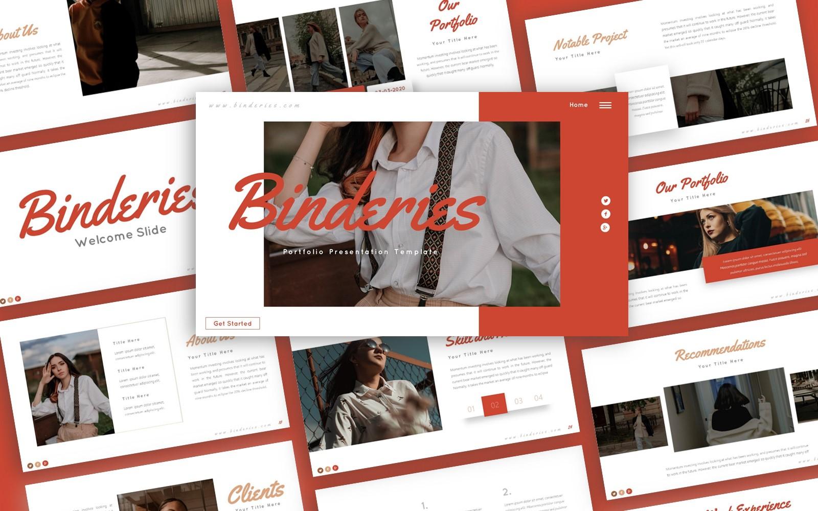 Binderies Portfolio Presentation PowerPoint template