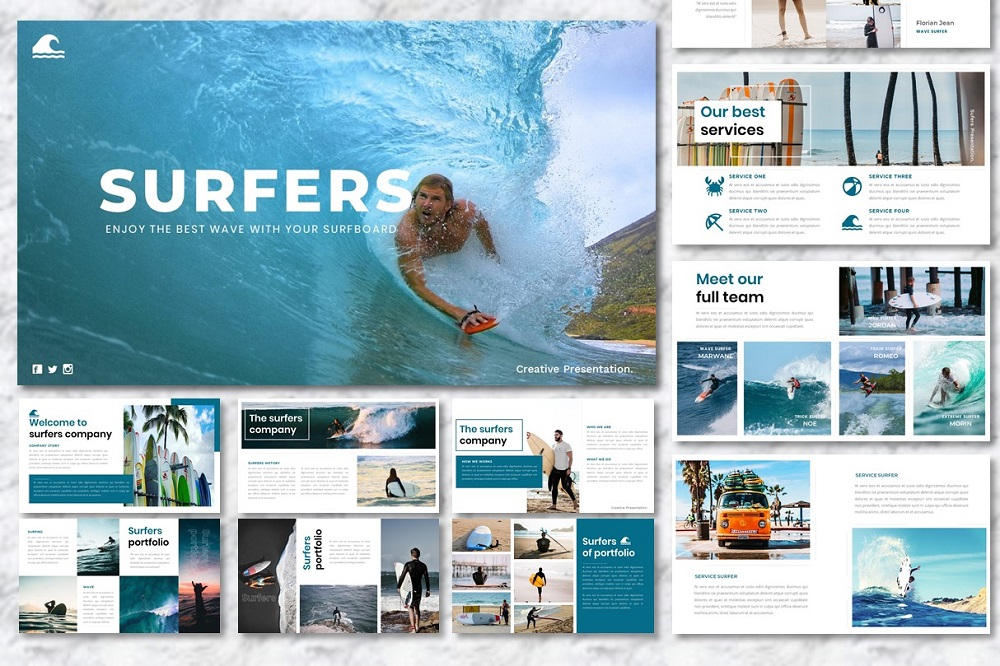 Surfers - Creative PowerPoint Template