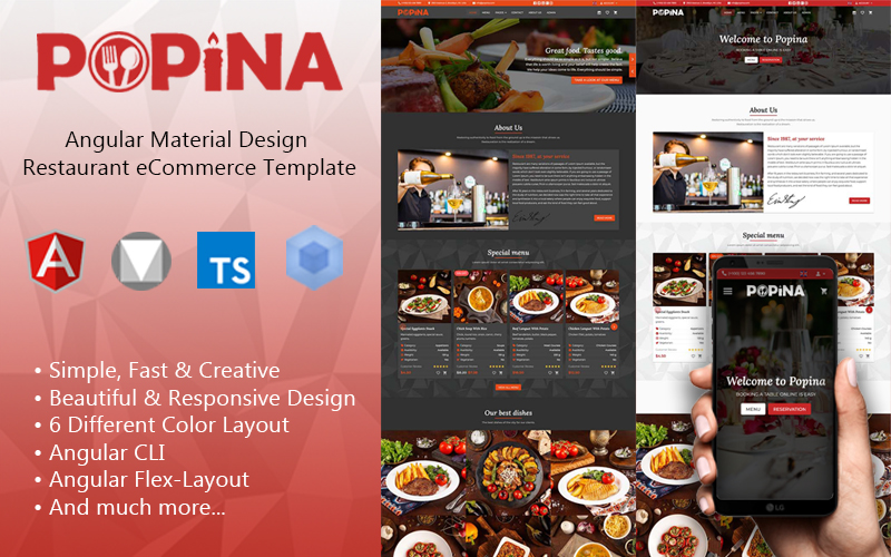 Popina - Angular 11 Material Design Restaurant eCommerce Template + Admin Panel Website Template