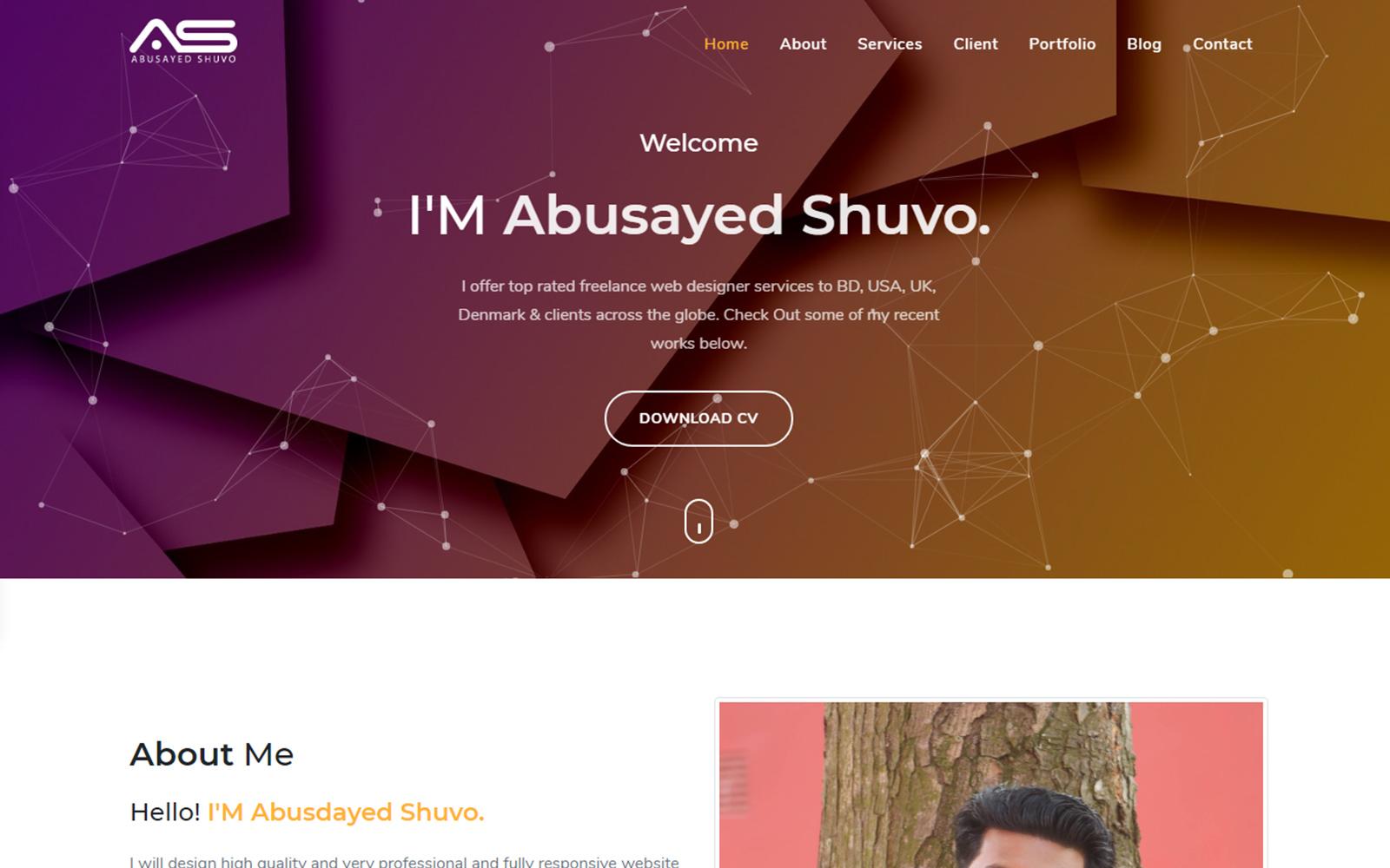 Shuvo Personal Portfolio Landing Page Template