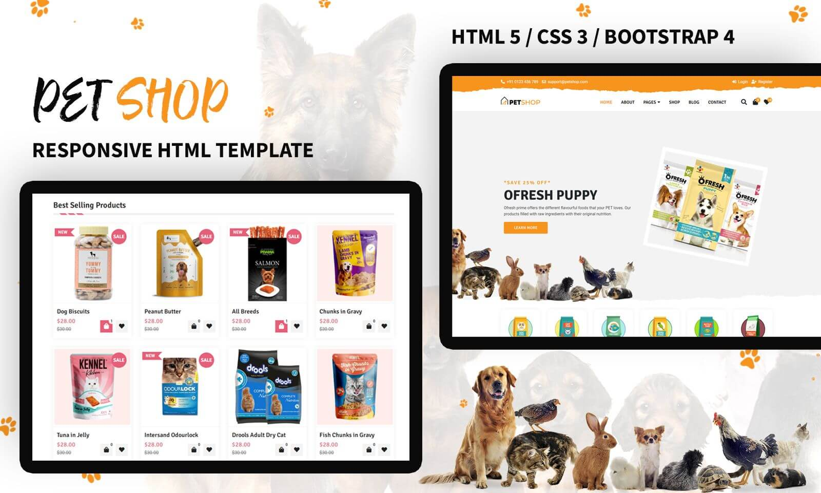 Pet Store Responsive Website Template