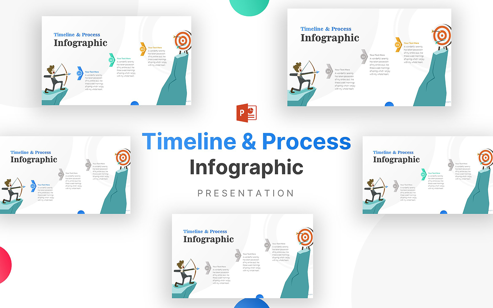 Archer with 3 Steps Towards Infographic PowerPoint Template