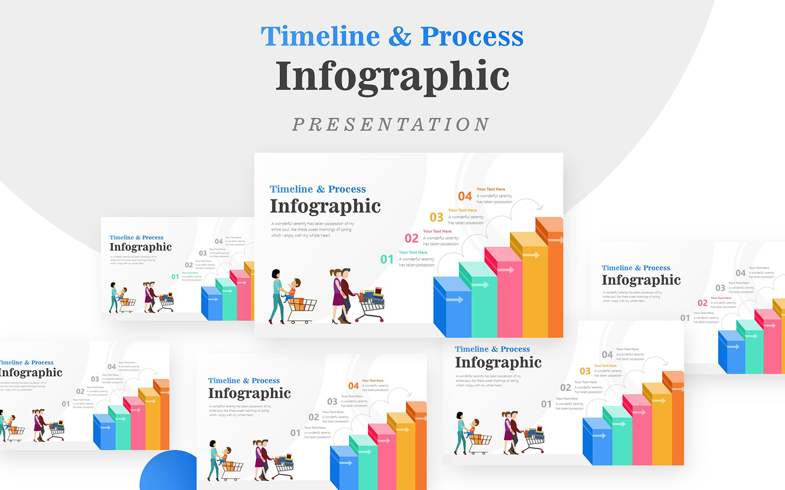 3D Stairs Diagram for Sales Infographic PowerPoint Template