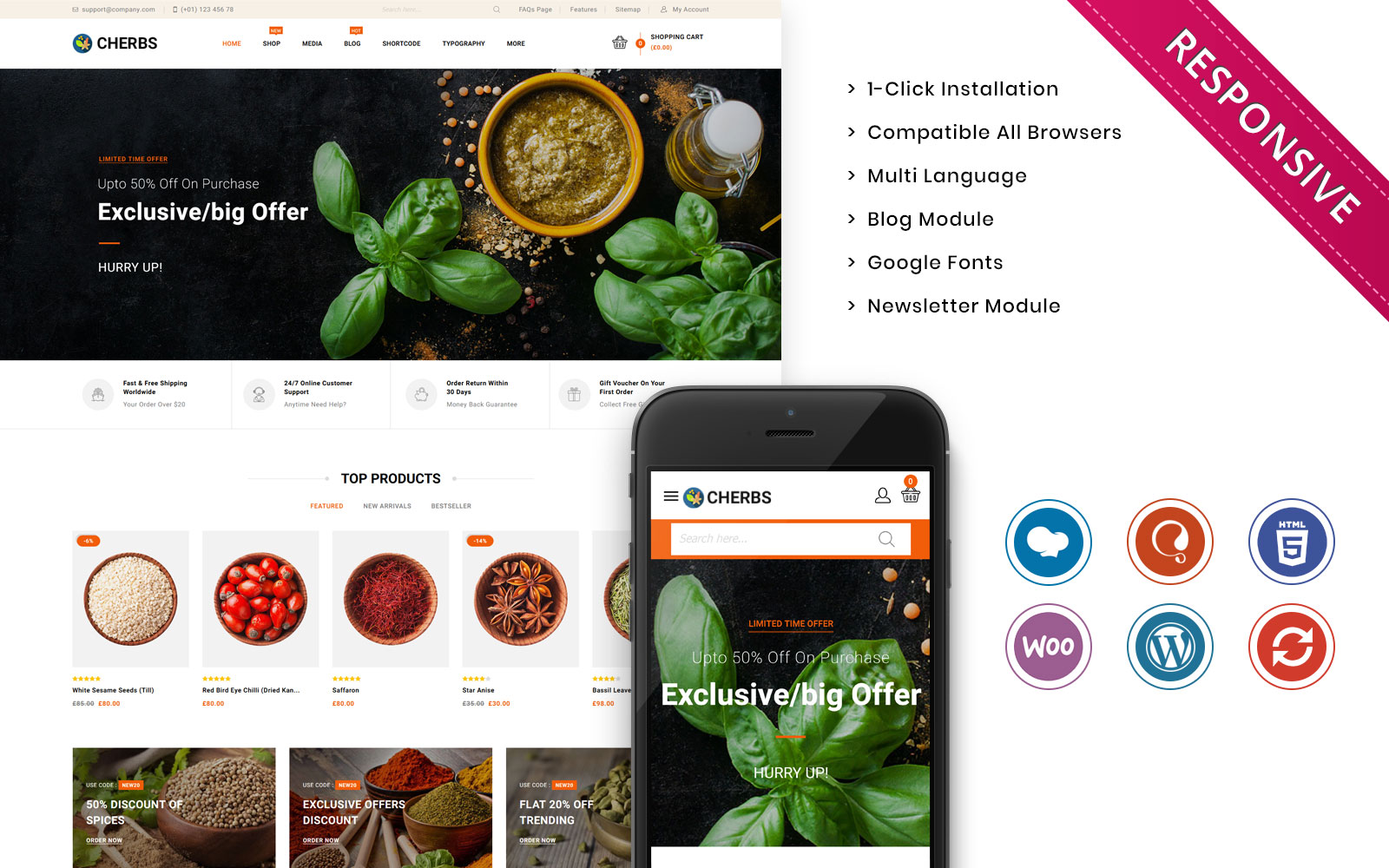 Cherbs - The Spices Store Responsive WooCommerce Theme