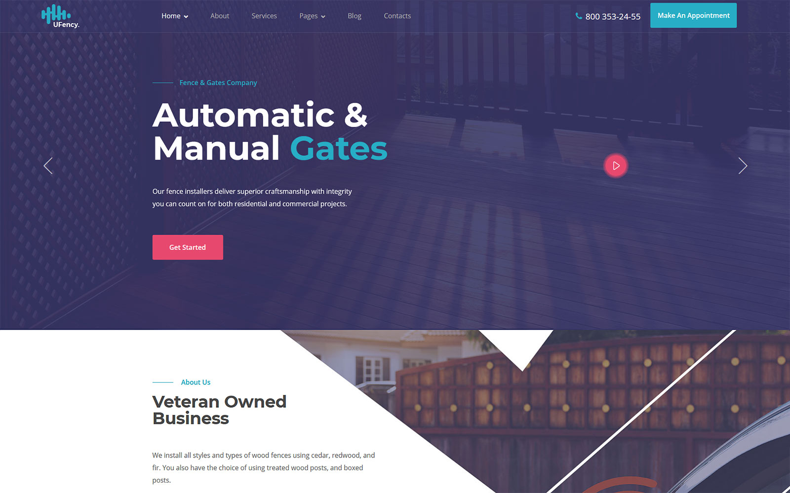 Ufency - Fencing, Gates and Carports WordPress Theme
