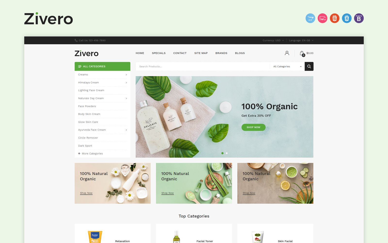 Zivero - Organic & Beauty OpenCart Template