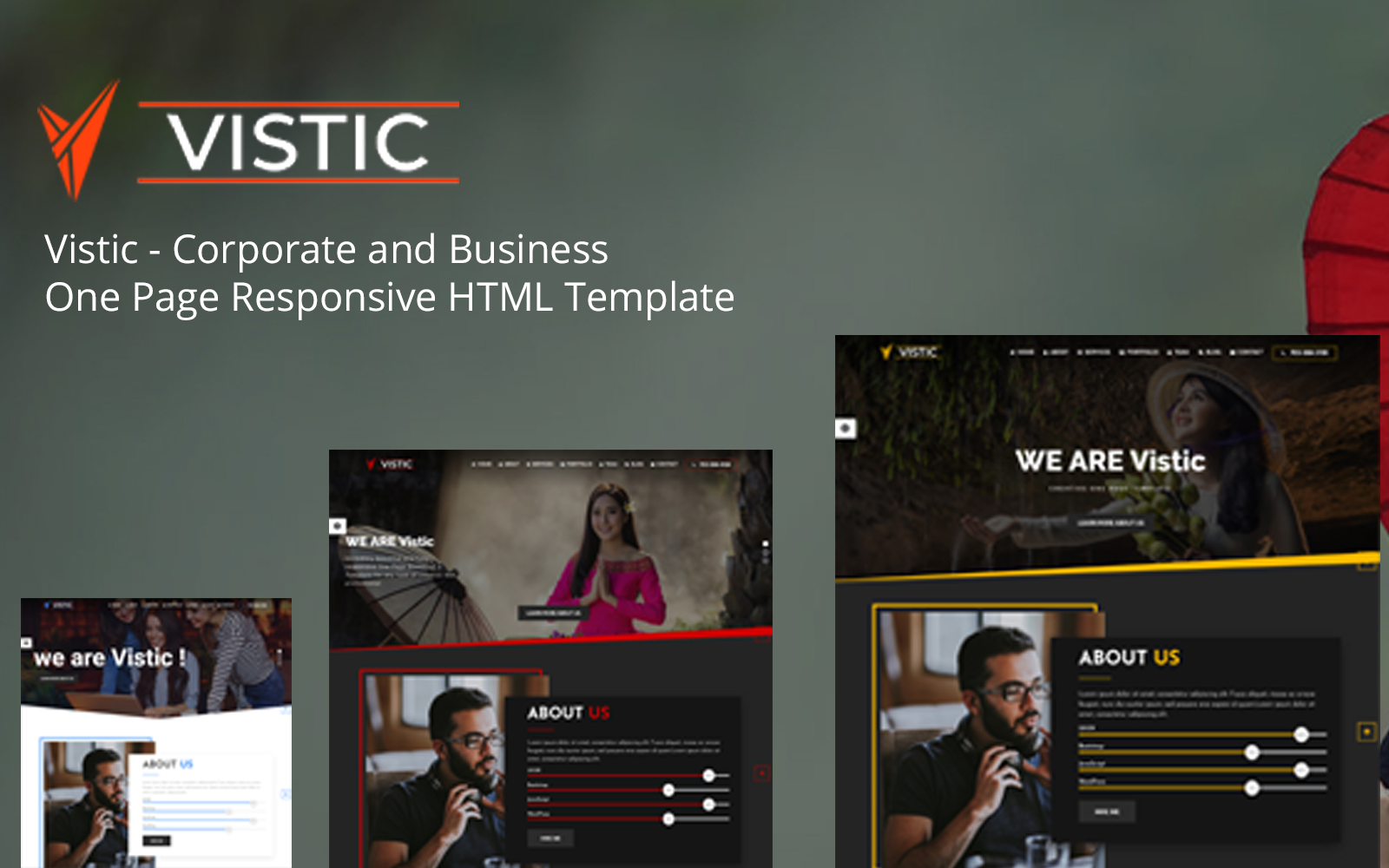Vistic – Corporate and Business One Page Responsive Landing Page Template