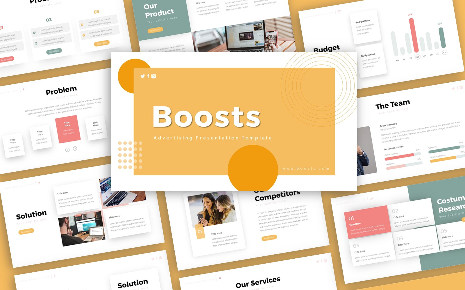 Boosts Advertising Presentation PowerPoint Template