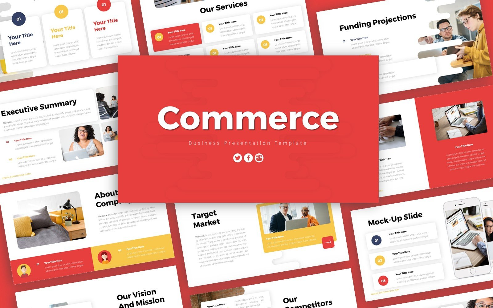Commerce Business Presentation PowerPoint template