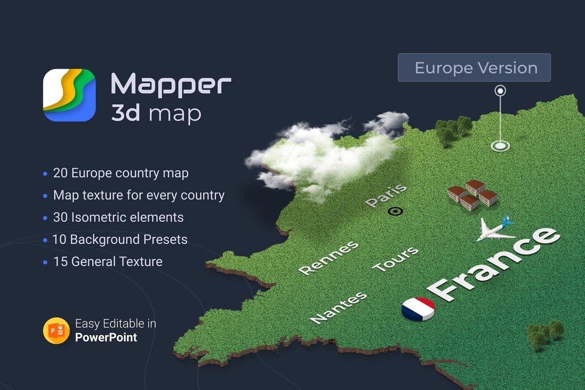 Mapper – 20 European Countries 3D Maps PowerPoint Template