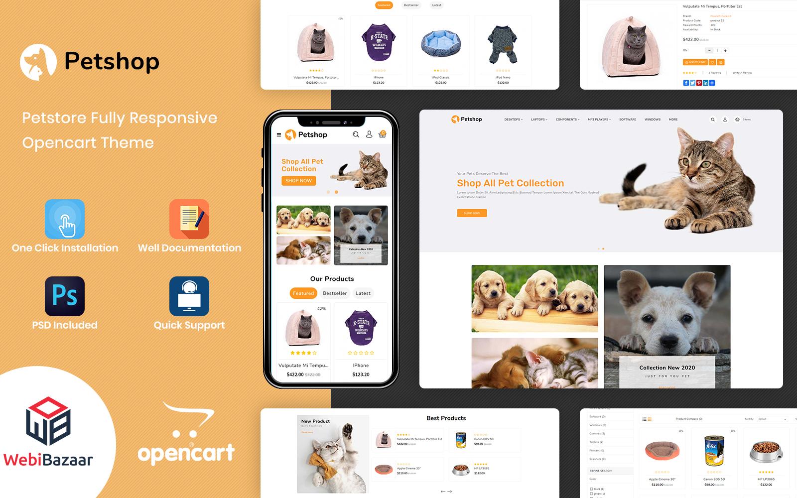 Petshop - Pet Store and Pet Food OpenCart Template