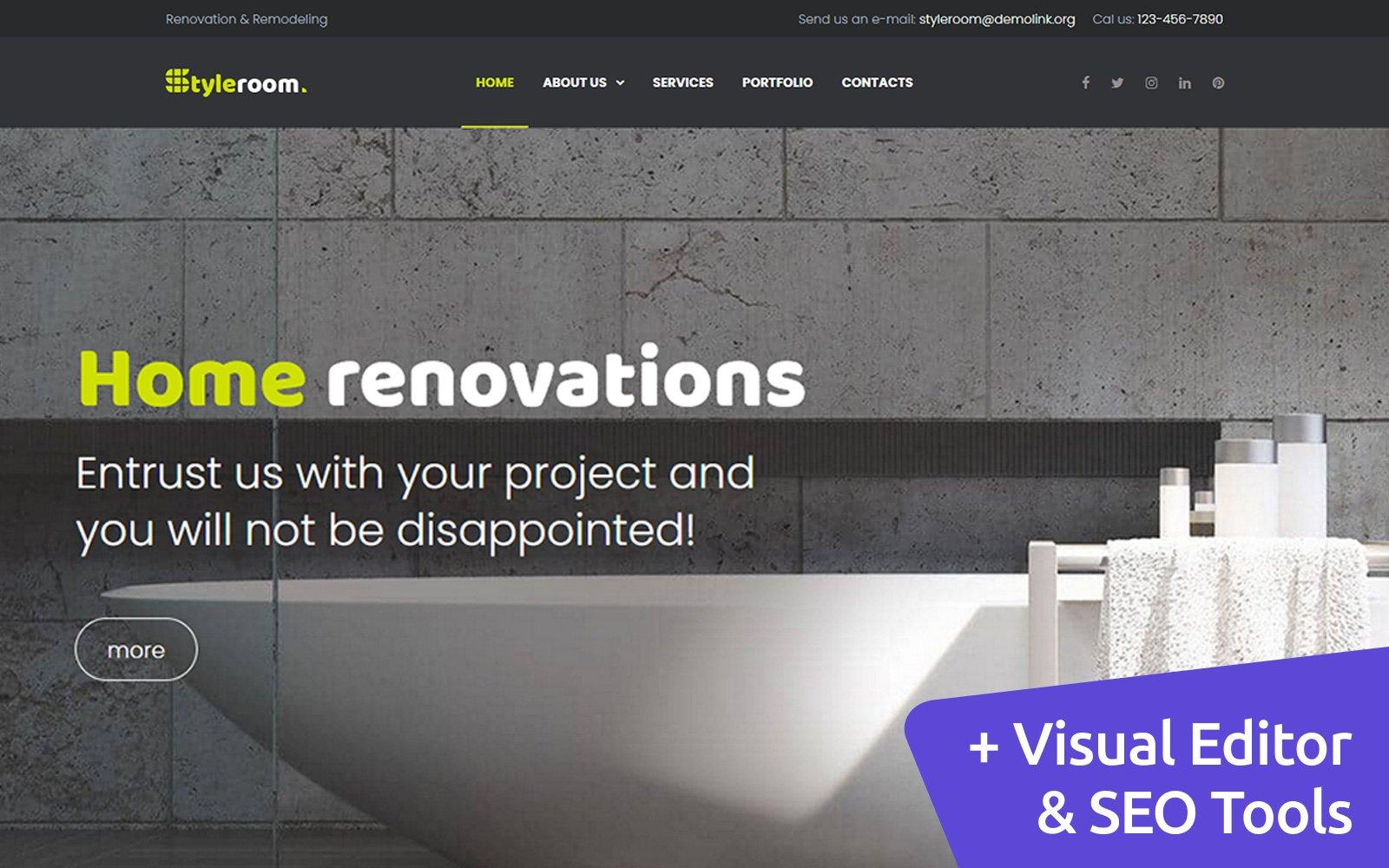 StyleRoom - House Renovation Moto CMS 3 Template