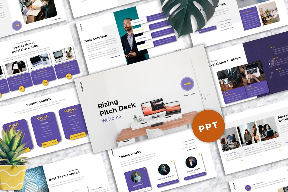 Rizing - Pitch Deck PowerPoint Template